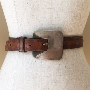 Vintage Square Silver Buckle Brown Leather Belt